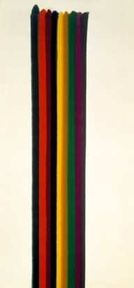Happy Friday, one of Morris's stripes paintings portrays thick magna stripes lined up spanning from the top to the bottom of the canvas, uniform in color.