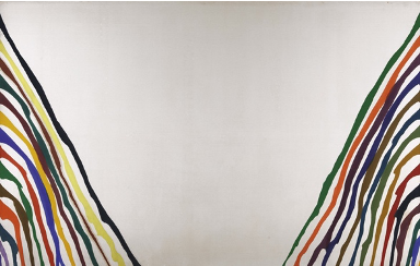 Morris's Gamma Psi, an unfurled painting. the middle and top of the canvas is left completely blank, with colored stripes running diagonally from the sides of the canvas to the bottom.